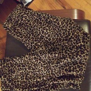 Fuzzy cheetah pajama pants